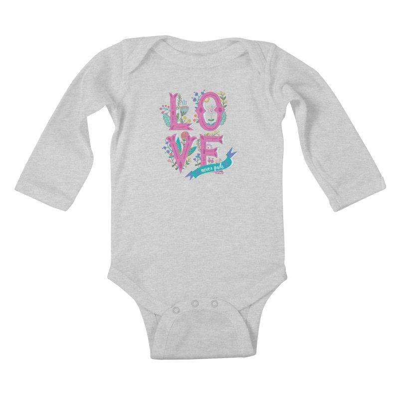 Love Never Fails  Kids Baby Longsleeve Bodysuit by Faith Designs's Artist Shop