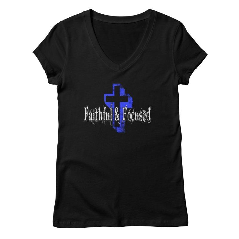 Blue Cross Women's V-Neck by Faithful & Focused Store
