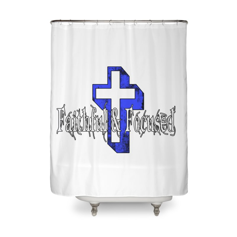 Blue Cross Home Shower Curtain by Faithful & Focused Store