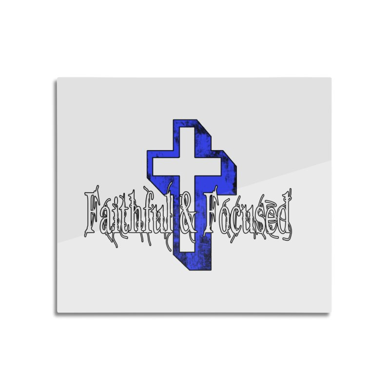 Blue Cross Home Mounted Aluminum Print by Faithful & Focused Store