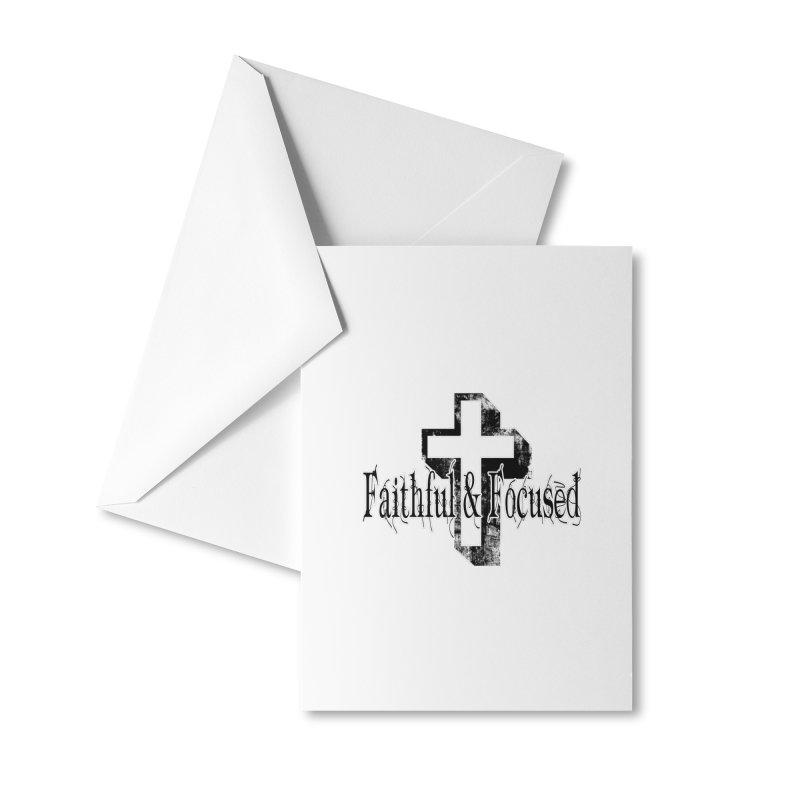 Faithful Center Blk Cross Accessories Greeting Card by Faithful & Focused Store