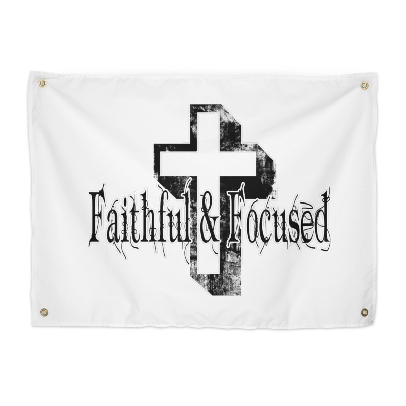 Faithful Center Blk Cross Home Tapestry by Faithful & Focused Store