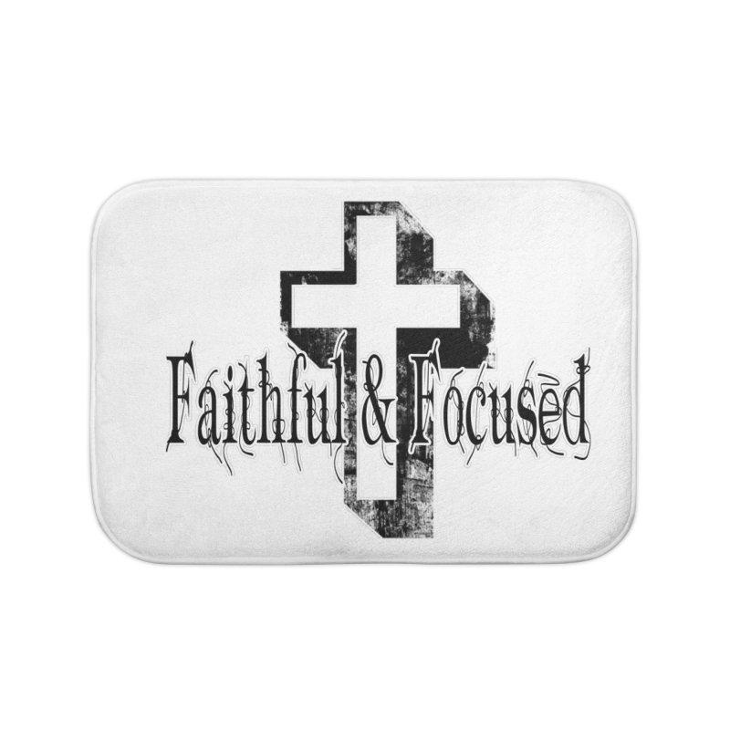 Faithful Center Blk Cross Home Bath Mat by Faithful & Focused Store