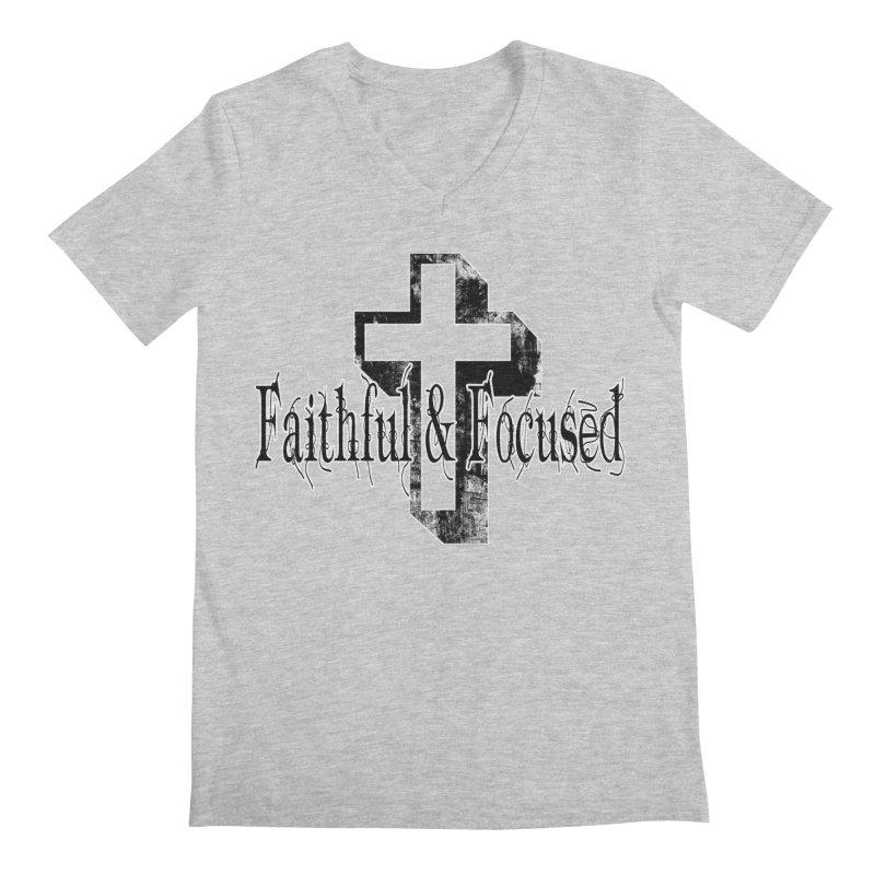 Faithful Center Blk Cross Men's V-Neck by Faithful & Focused Store