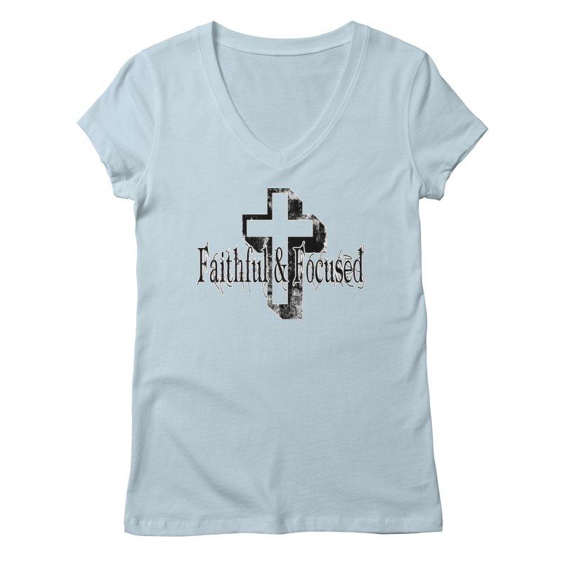 Faithful Center Blk Cross Women's V-Neck by Faithful & Focused Store