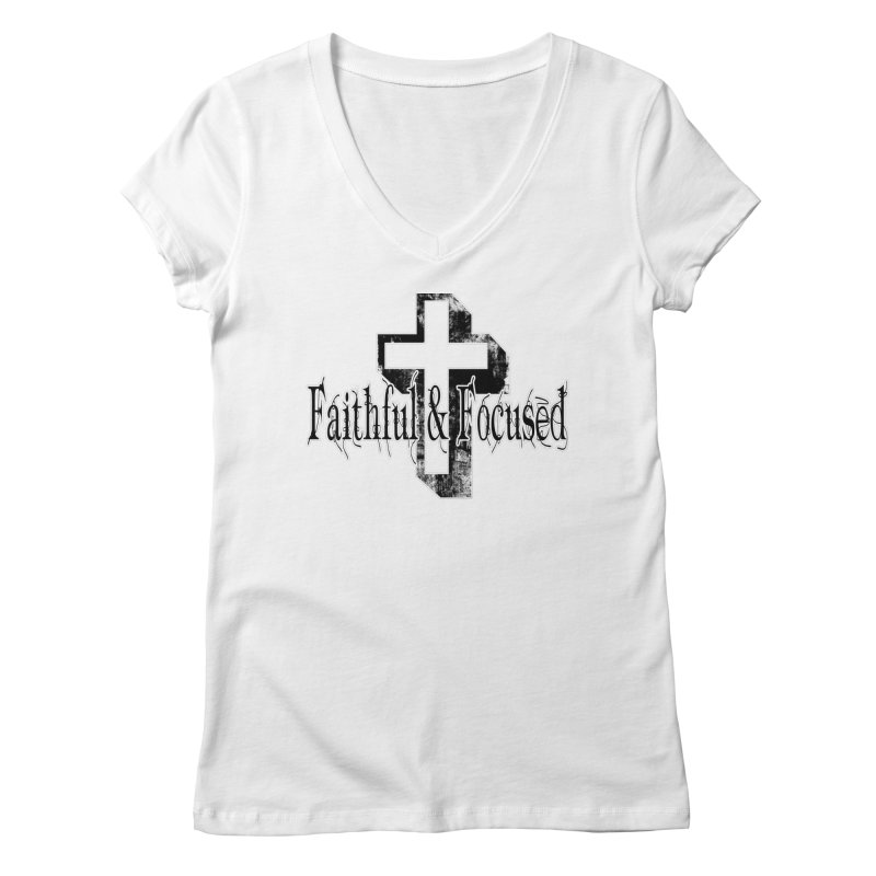 Faithful Center Blk Cross Women's V-Neck by Faithful & Focused Store