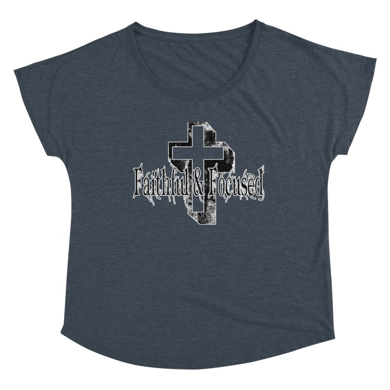 Faithful Center Blk Cross Women's Scoop Neck by Faithful & Focused Store