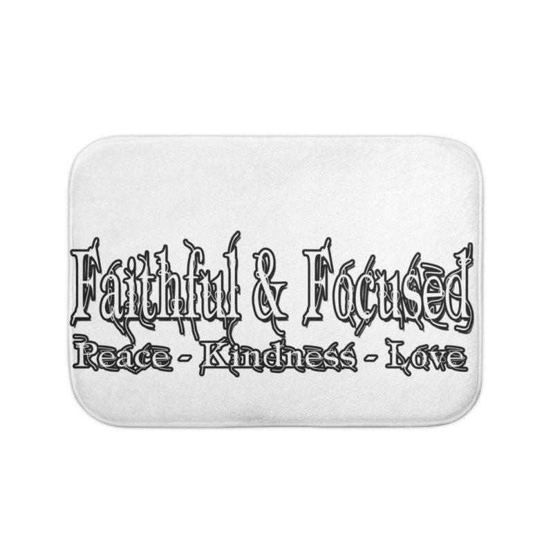 FAITHFUL & FOCUSED PEACE KINDNESS LOVE Home Bath Mat by Faithful & Focused Store