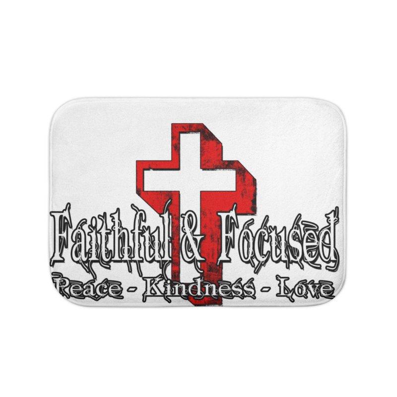 Red  Faithful Cross Home Bath Mat by Faithful & Focused Store