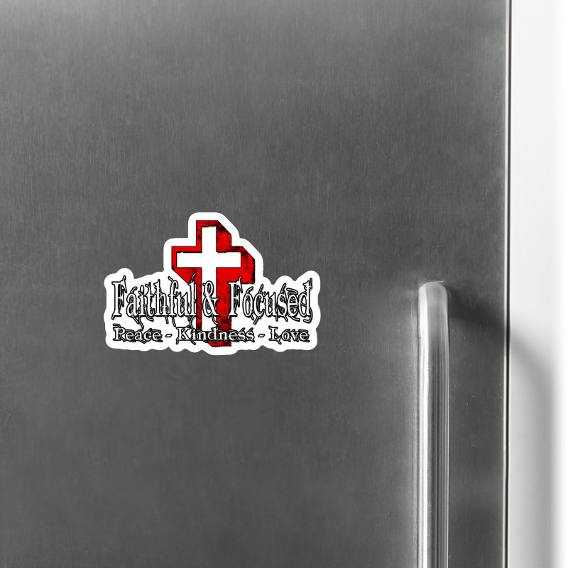 Red  Faithful Cross Accessories Magnet by Faithful & Focused Store