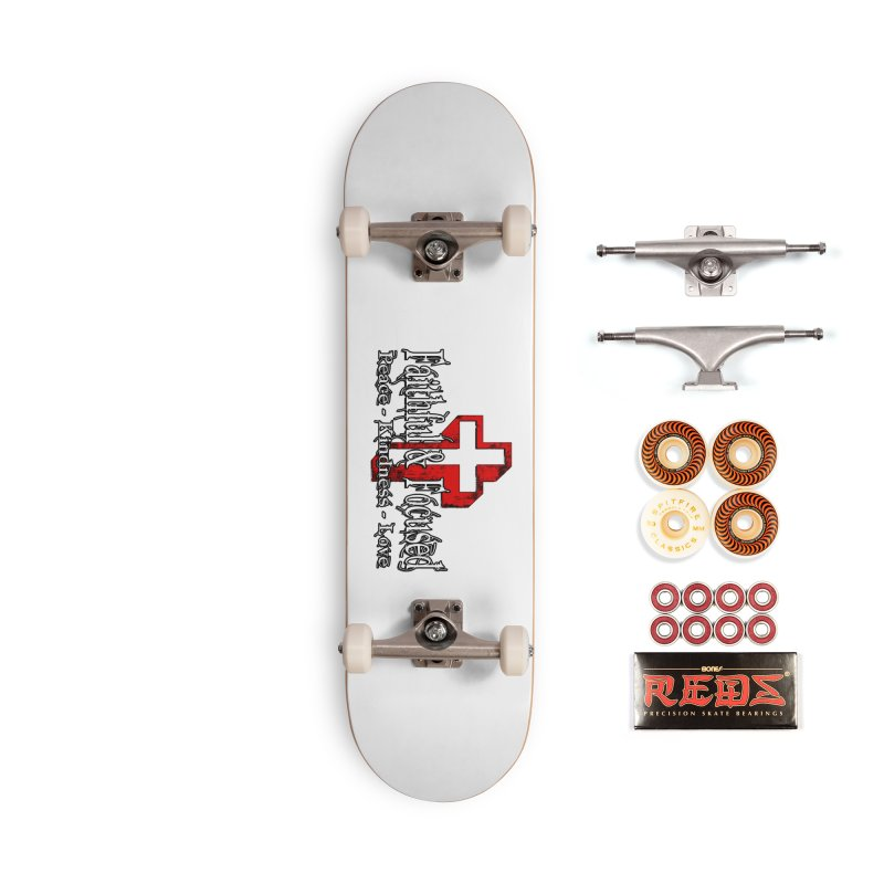 Red  Faithful Cross Accessories Skateboard by Faithful & Focused Store