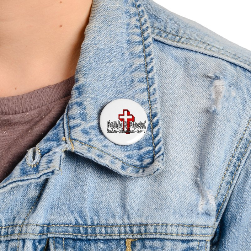 Red  Faithful Cross Accessories Button by Faithful & Focused Store
