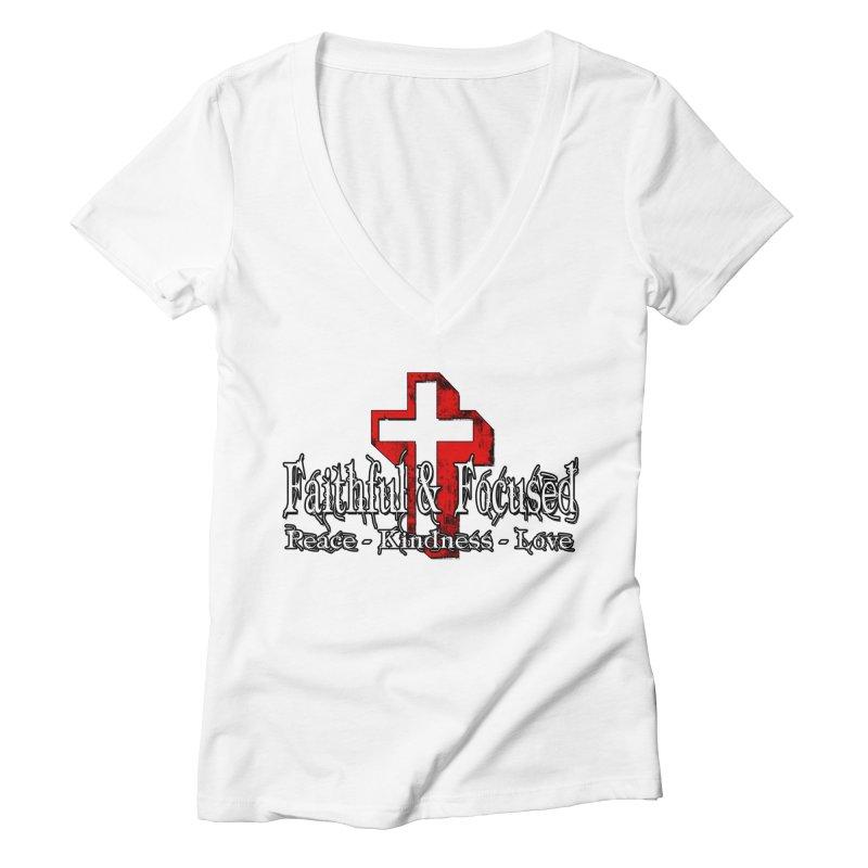 Red  Faithful Cross Women's V-Neck by Faithful & Focused Store