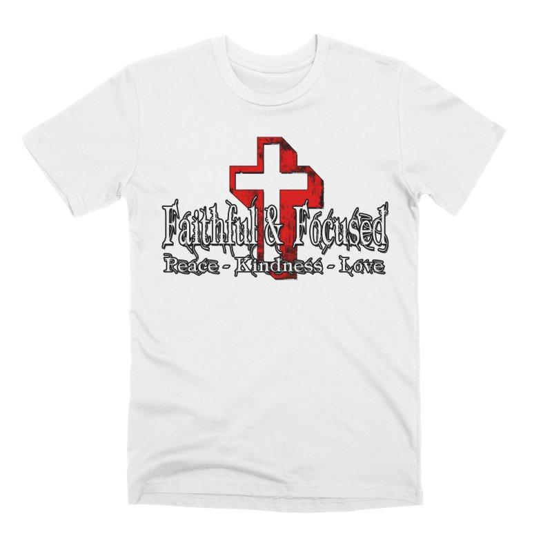 Red  Faithful Cross Men's T-Shirt by Faithful & Focused Store