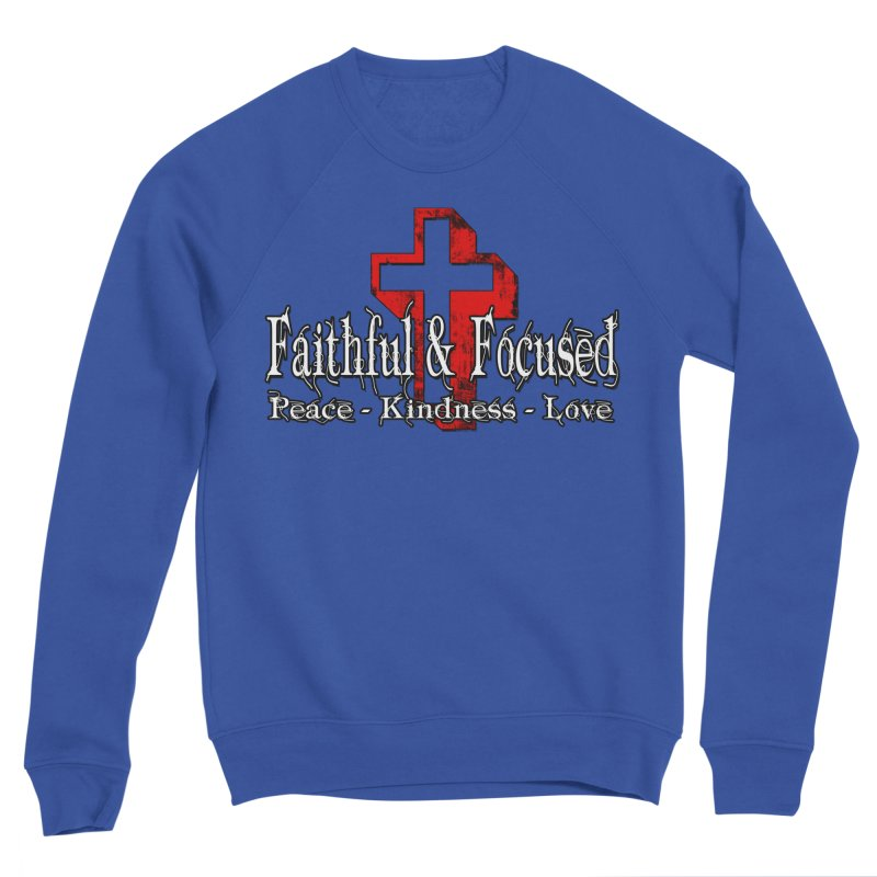 Red  Faithful Cross Men's Sweatshirt by Faithful & Focused Store