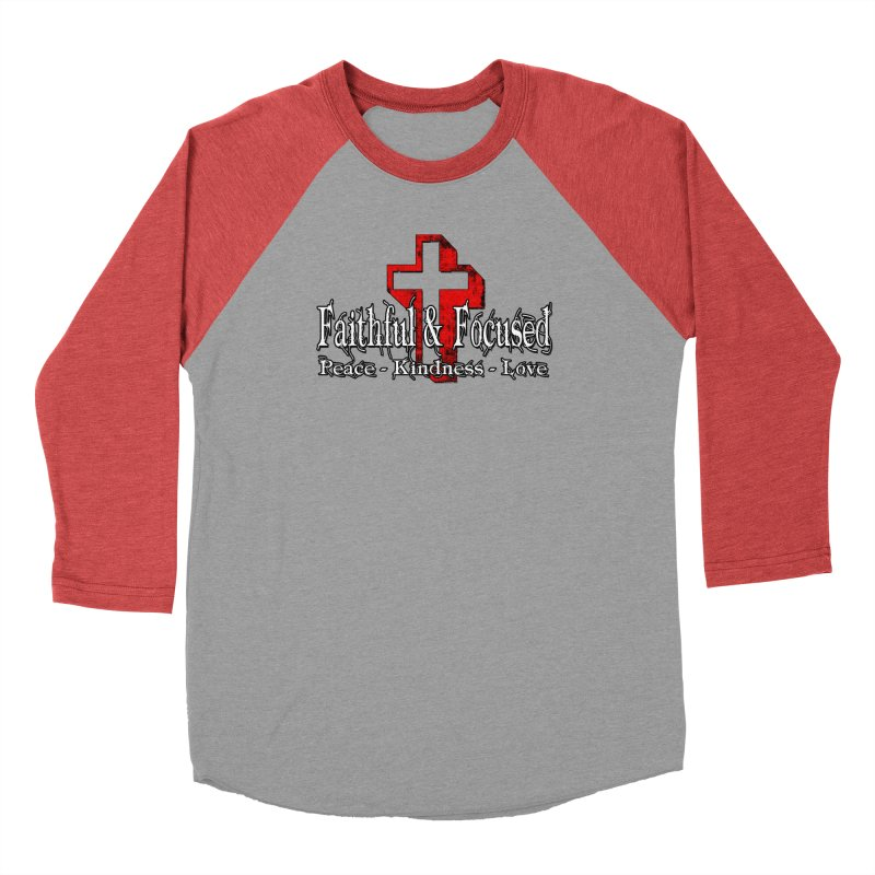 Red  Faithful Cross Men's Longsleeve T-Shirt by Faithful & Focused Store