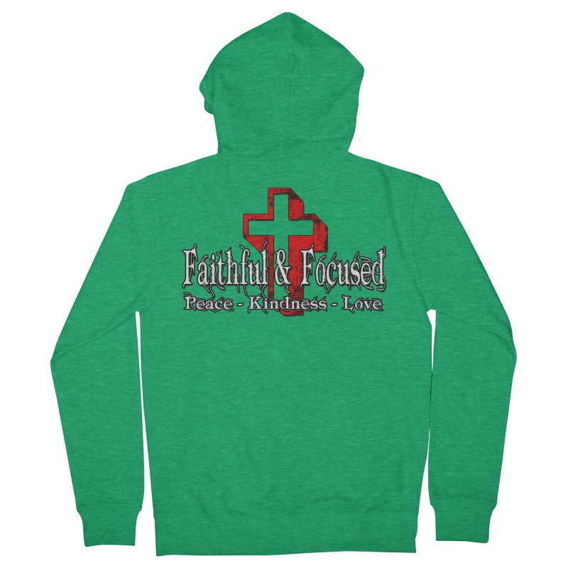 Red  Faithful Cross Women's Zip-Up Hoody by Faithful & Focused Store