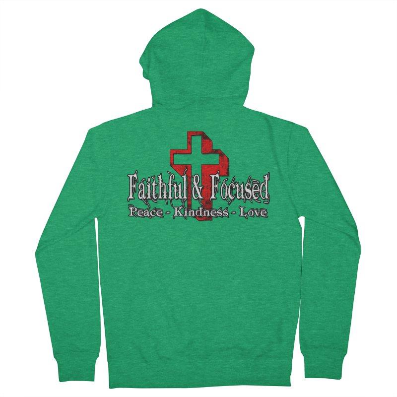 Red  Faithful Cross Men's Zip-Up Hoody by Faithful & Focused Store