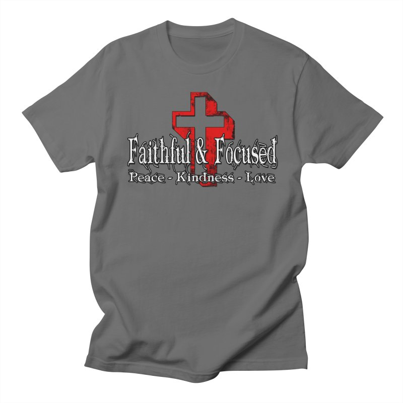 Red  Faithful Cross Men's T-Shirt by Faithful & Focused Store