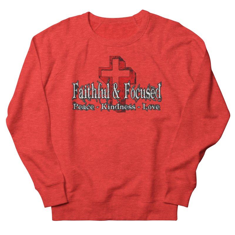 Red  Faithful Cross Men's Sweatshirt by Faithful & Focused Store
