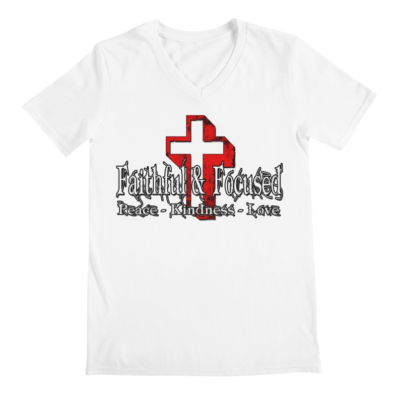 Red  Faithful Cross Men's V-Neck by Faithful & Focused Store