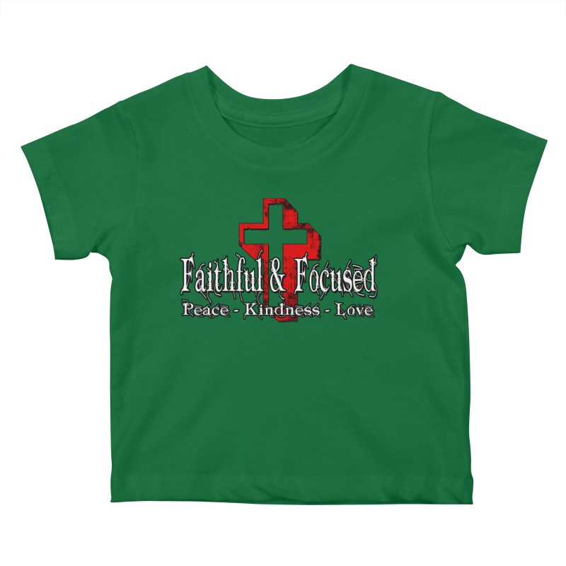 Red  Faithful Cross Kids Baby T-Shirt by Faithful & Focused Store