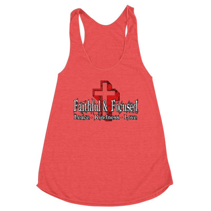 Red  Faithful Cross Women's Tank by Faithful & Focused Store
