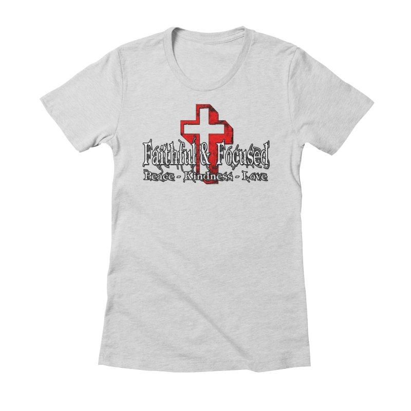 Red  Faithful Cross Women's T-Shirt by Faithful & Focused Store