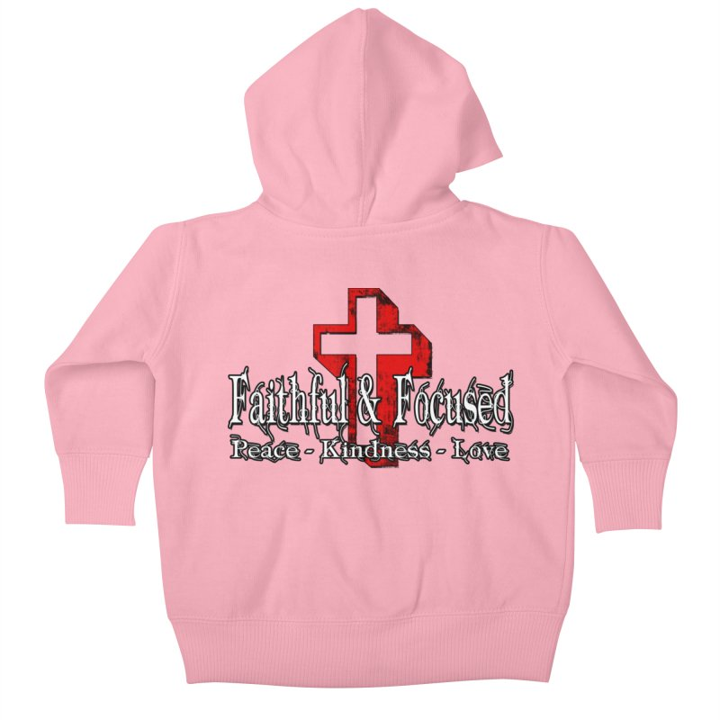 Red  Faithful Cross Kids Baby Zip-Up Hoody by Faithful & Focused Store