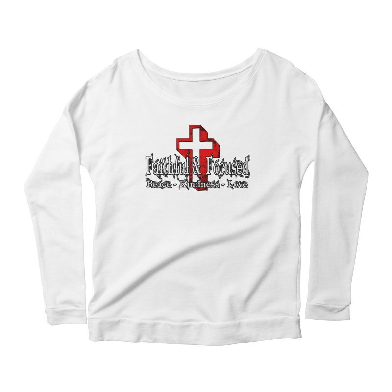 Red  Faithful Cross Women's Longsleeve T-Shirt by Faithful & Focused Store