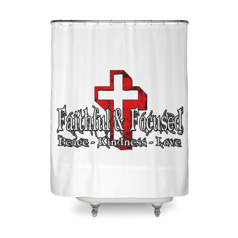 Red  Faithful Cross Home Shower Curtain by Faithful & Focused Store