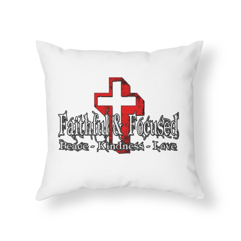 Red  Faithful Cross Home Throw Pillow by Faithful & Focused Store