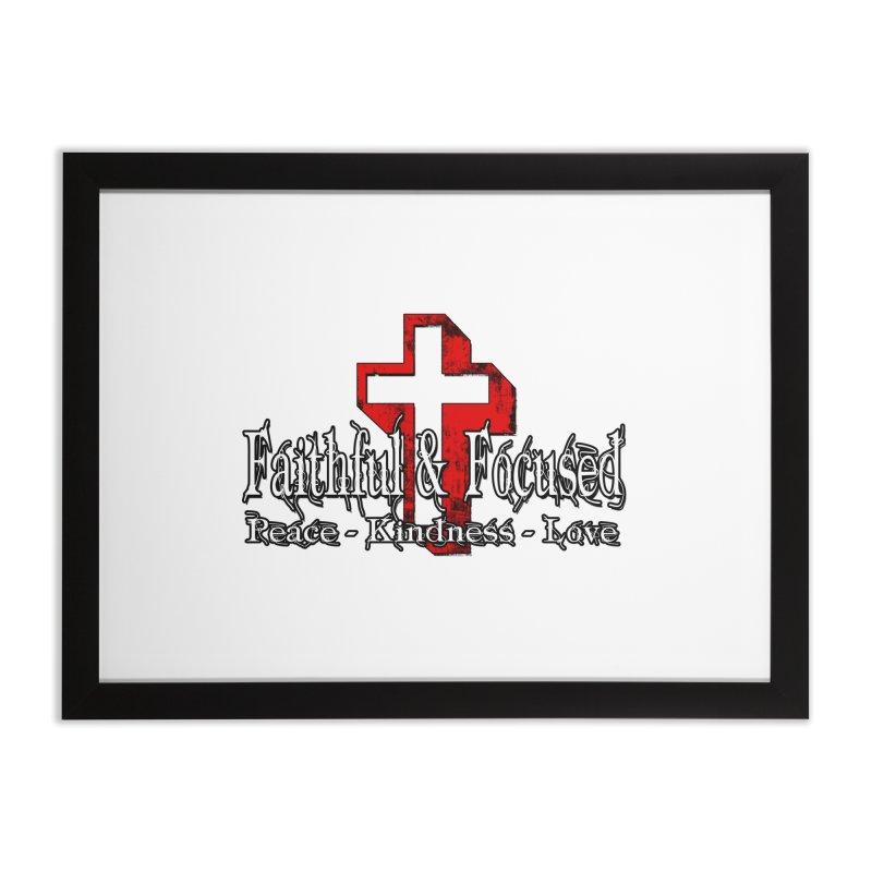 Red  Faithful Cross Home Framed Fine Art Print by Faithful & Focused Store