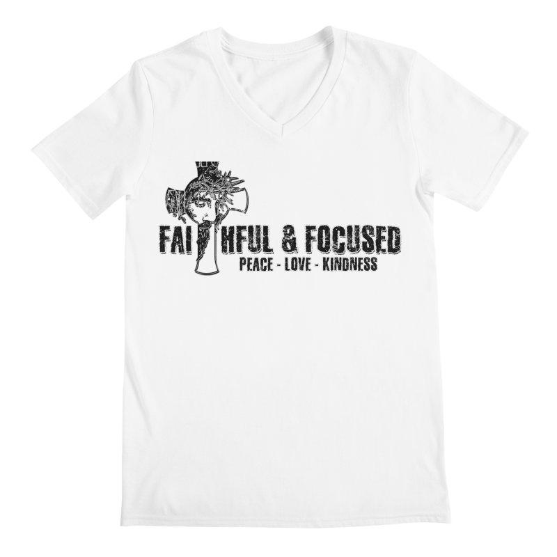He Reigns Faithful&Focused Men's V-Neck by Faithful & Focused Store