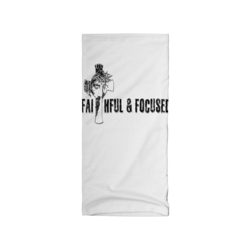 FAITHFUL AND FOCUSED CROSS W/ FACE Accessories Neck Gaiter by Faithful & Focused Store