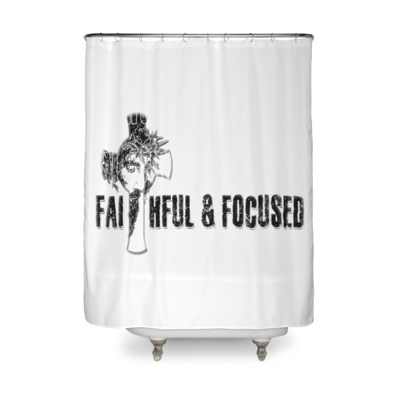 FAITHFUL AND FOCUSED CROSS W/ FACE Home Shower Curtain by Faithful & Focused Store