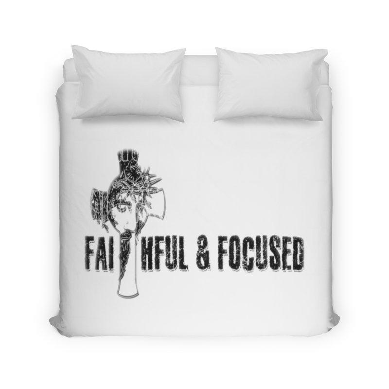 FAITHFUL AND FOCUSED CROSS W/ FACE Home Duvet by Faithful & Focused Store