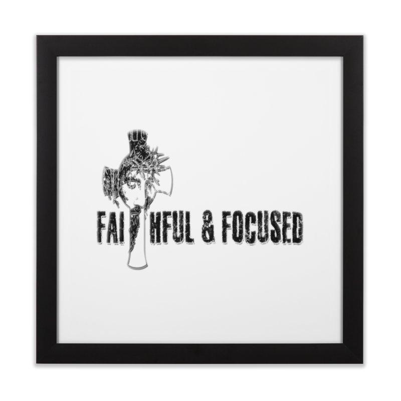 FAITHFUL AND FOCUSED CROSS W/ FACE Home Framed Fine Art Print by Faithful & Focused Store