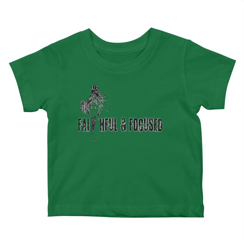 FAITHFUL AND FOCUSED CROSS W/ FACE Kids Baby T-Shirt by Faithful & Focused Store