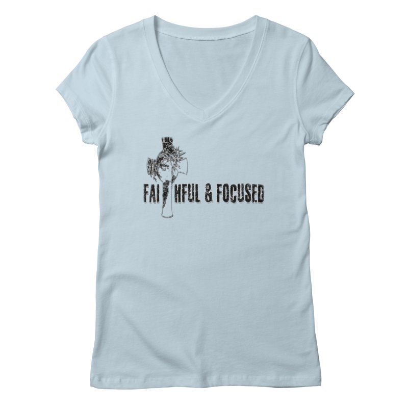 FAITHFUL AND FOCUSED CROSS W/ FACE Women's V-Neck by Faithful & Focused Store