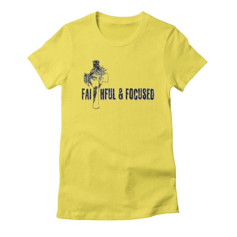 FAITHFUL AND FOCUSED CROSS W/ FACE Women's T-Shirt by Faithful & Focused Store