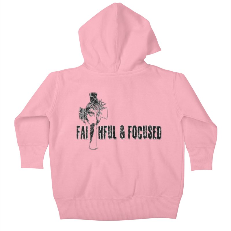 FAITHFUL AND FOCUSED CROSS W/ FACE Kids Baby Zip-Up Hoody by Faithful & Focused Store