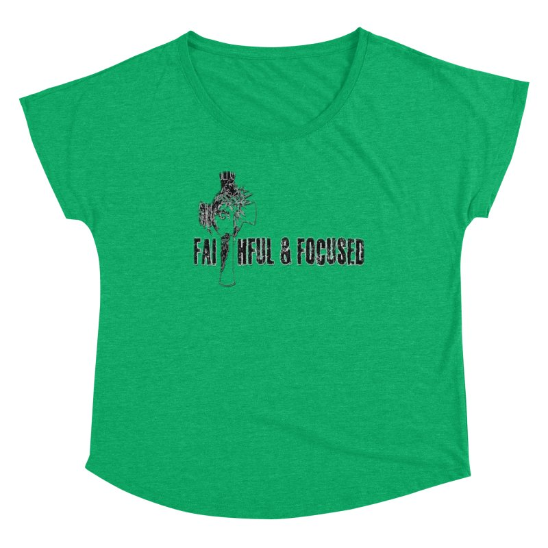 FAITHFUL AND FOCUSED CROSS W/ FACE Women's Scoop Neck by Faithful & Focused Store