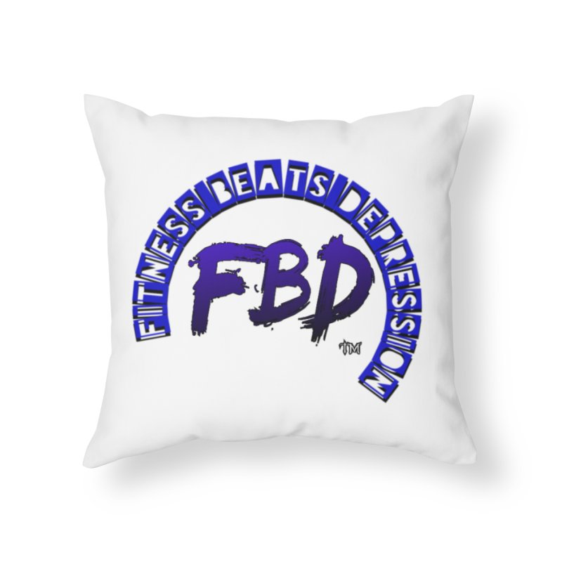 Fitness Beats Depression Home Throw Pillow by Faithful & Focused Store