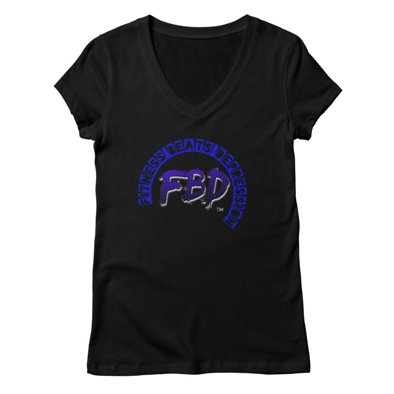 Fitness Beats Depression Women's V-Neck by Faithful & Focused Store