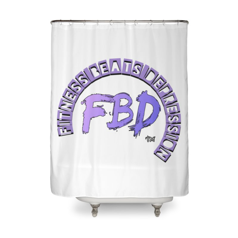 FITNESS BEATS DEPRESSION LAVENDER Home Shower Curtain by Faithful & Focused Store