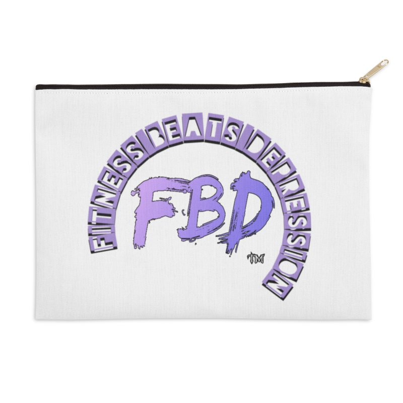 FITNESS BEATS DEPRESSION LAVENDER Accessories Zip Pouch by Faithful & Focused Store