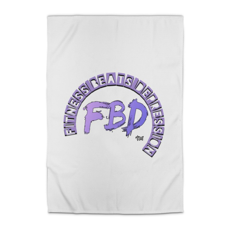 FITNESS BEATS DEPRESSION LAVENDER Home Rug by Faithful & Focused Store