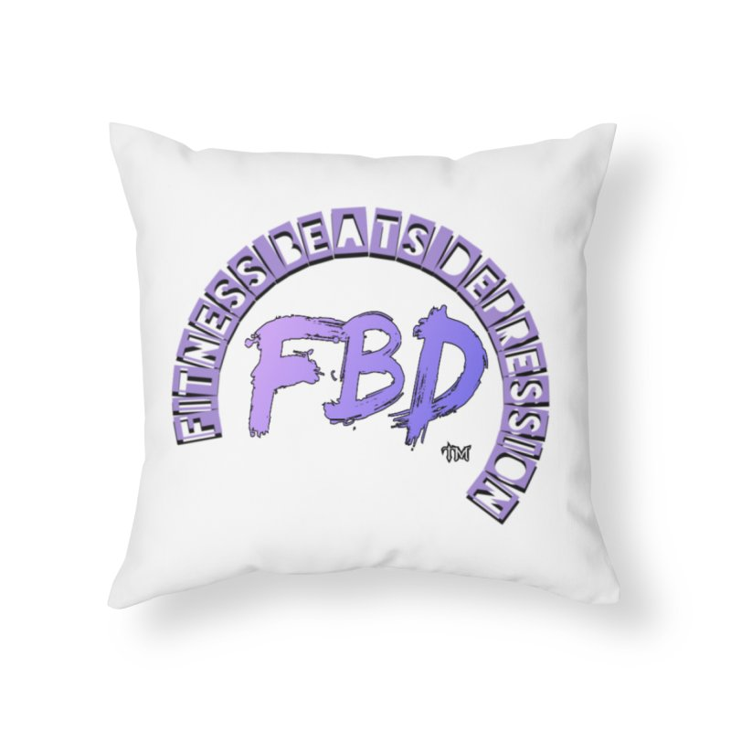 FITNESS BEATS DEPRESSION LAVENDER Home Throw Pillow by Faithful & Focused Store