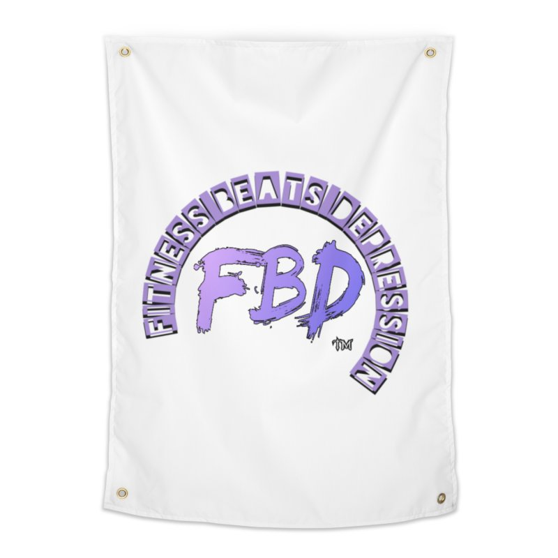 FITNESS BEATS DEPRESSION LAVENDER Home Tapestry by Faithful & Focused Store